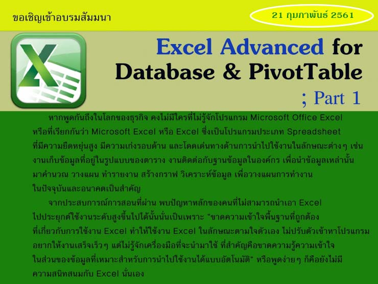 Excel Advanced for Database & PivotTable